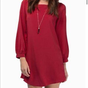 Tobi Red Shift Dress w Puff Sleeves (S) - NWOT